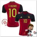 Belgique Maillot Foot E.Hazard Domicile Coupe Euro 2016