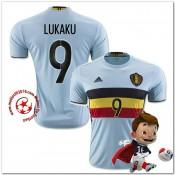 Belgique Maillot Lukaku Extérieur Coupe Euro 2016