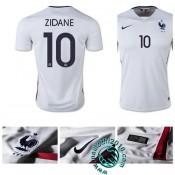 Boutique Maillot Foot France (Zidane 10) Extérieur 2015/2016 Pas Cher