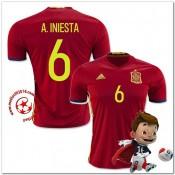Espagne Maillot Foot A.Iniesta Domicile Coupe Euro 2016