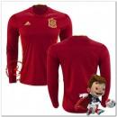 Espagne Maillot Foot Domicile Manche Longue Coupe Euro 2016