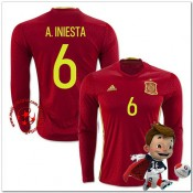 Espagne Maillots De Foot A.Iniesta Domicile Manche Longue Coupe Euro 2016