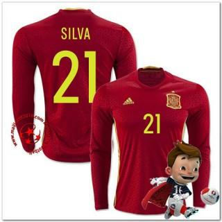 Espagne Maillots De Foot Silva Domicile Manche Longue Coupe Euro 2016