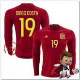 Espagne Maillots Foot Diego Costa Domicile Manche Longue Coupe Euro 2016