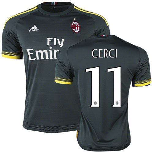 Maillot AC Milan FC CERCI 11 2rd maillots de football pas cher 2015 2016