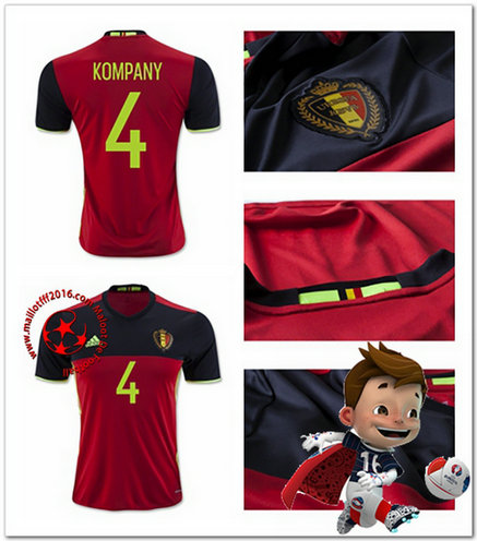 Maillots De Foot Belgique KOMPANY AUTHENTIC Domicile Coupe Euro 2016