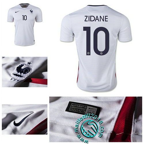 Maillot foot France (ZIDANE 10) AUTHENTIC Extérieur 2015/2016