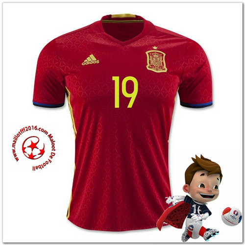 Espagne Maillots foot DIEGO COSTA Domicile Coupe Euro 2016