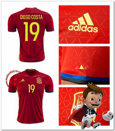 Maillots foot Espagne DIEGO COSTA AUTHENTIC Domicile Coupe Euro 2016