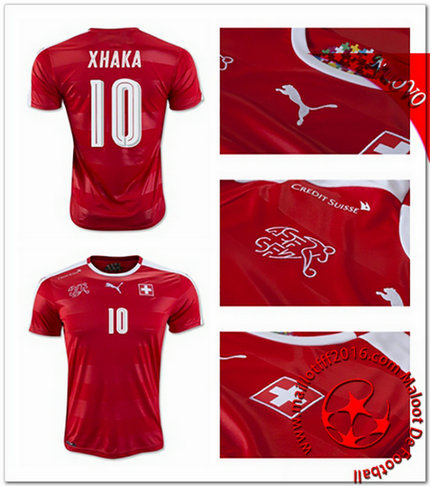 Maillots foot Suisse XHAKA AUTHENTIC Domicile Coupe Euro 2016