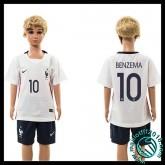 Créer Maillot France (Benzema 10) Enfant Kits Extérieur 2015-2016 Boutique En Ligne