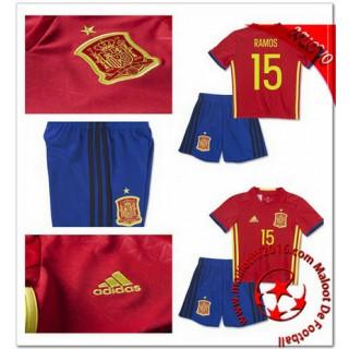 Espagne Maillot Foot Ramos Mini Kit Domicile Coupe Euro 2016