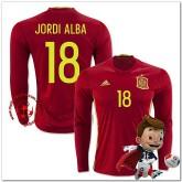 Espagne Maillot Jordi Alba Domicile Manche Longue Coupe Euro 2016