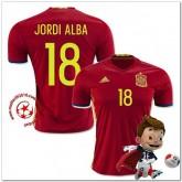 Espagne Maillots De Foot Jordi Alba Domicile Coupe Euro 2016