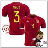 Espagne Maillots De Foot Pique Domicile Coupe Euro 2016