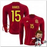 Espagne Maillots Ramos Domicile Manche Longue Coupe Euro 2016