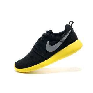 Roshe Run Nike Chaussure Noir Jaune Soldes Marseille