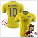Suède Maillots De Foot Ibrahimovic Domicile Coupe Euro 2016
